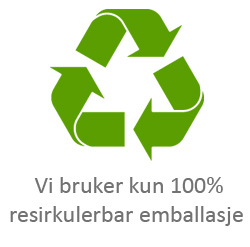 Vi bruker kun resirkulerbar emballasje